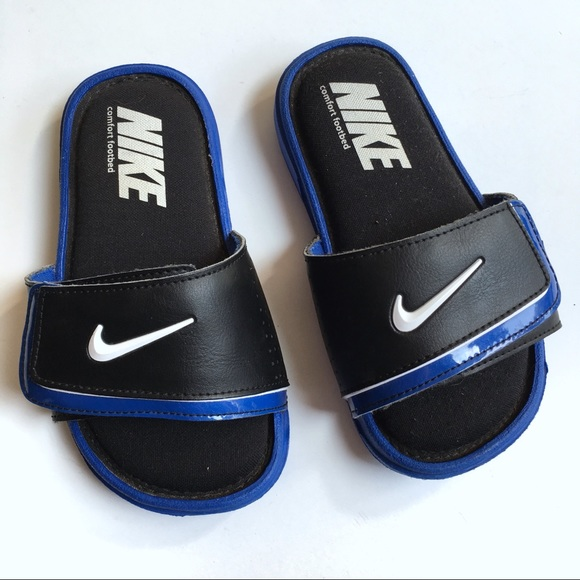 32d1c1086affb Nike Boys Slide Sandals 12C Blue Black Comfort. M 5b9c41ee9e6b5b361ce97981